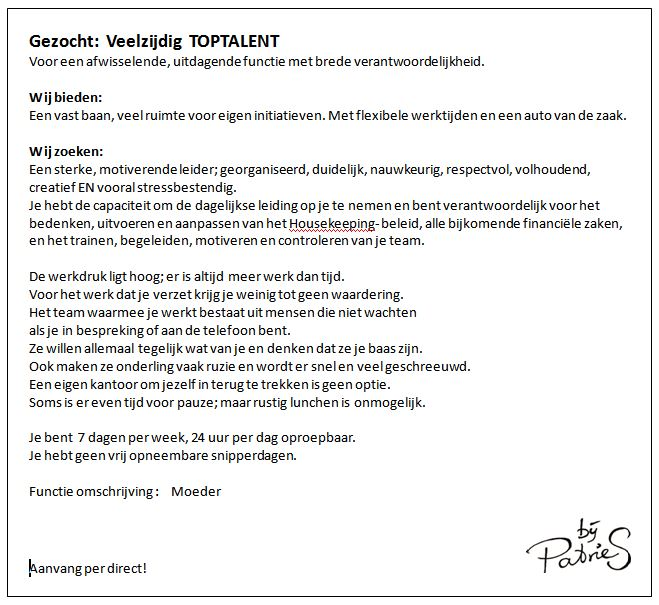Vacature - per direct
